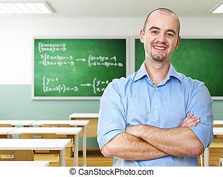 уверенная в себе, учитель