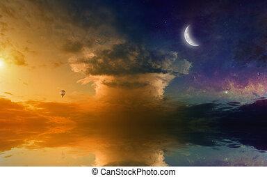 удивительно, закат солнца, отражение, пылающий, море