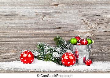 украшение, деревянный, над, рождество, задний план