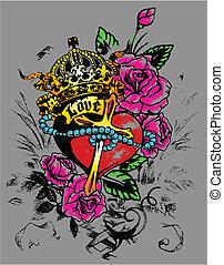 украшение, сердце, флорес, королевский