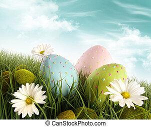 украшен, eggs, трава, пасха, daisies