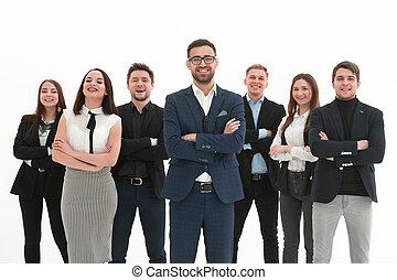 улыбается, их, постоянный, менеджер, вокруг, сотрудников
