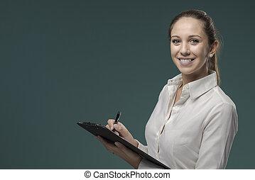 улыбается, письмо, notes, буфер обмена, женщина
