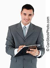 улыбается, принятие, notes, бизнесмен