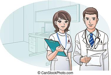 улыбается, уверенная в себе, врач, медсестра