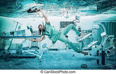 улыбается, room., операционная, врач, под, воды, затопленный, floats