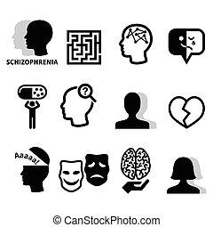 умственный, icons, здоровье, шизофрения