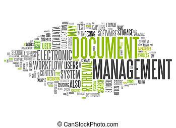 управление, слово, документ, облако