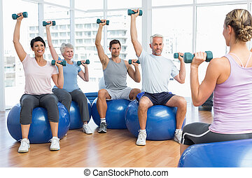 упражнение, сидящий, dumbbells, мячи, фитнес, класс