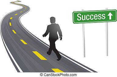 успех, бизнес, знак, ходить, дорога, человек