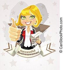 успешный, бизнес-леди, плакат