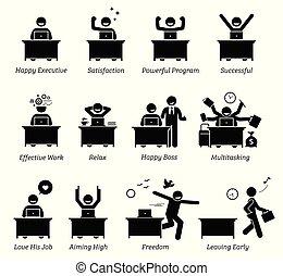 успешный, счастливый, за работой, офис, эффективный, доволен, должностное лицо, работник, workplace., works., enjoying