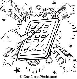 устройство, эскиз, мобильный