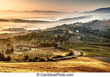 утро, сельская местность, туман, тосканский, над