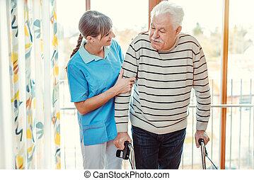 уход, главная, человек, старшая, помощь, медсестра, гулять пешком, рамка