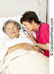 ухо, больница, проверить, пациент