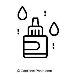 ухо, назальный, линия, drops, бутылка, глаз, isolated, значок, или