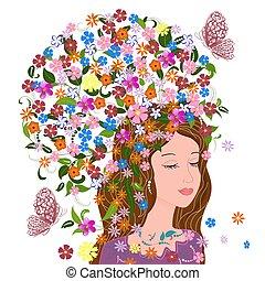 фантазия, волосы, дизайн, симпатичная, цветочный, девушка, ваш