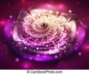 фантастика, блестящий, яркий, фрактальный, иллюстрация, цветок