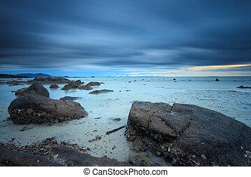 фантастика, морской пейзаж, поверхность, длинный, камень, воздействие