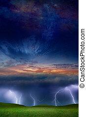 фантастика, небо, штормовой, пространство, коллаж, звездный, hills, lightnings, -, пылающий, сверхъестественное, зеленый, трава, закат солнца
