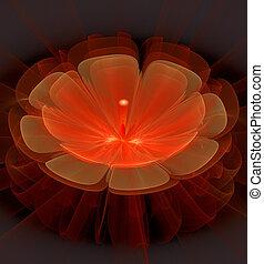 фантастика, цветок, блестящий, иллюстрация, яркий, фрактальный
