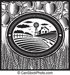 ферма, белый, черный, ретро