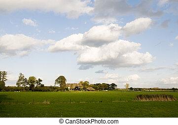 ферма, дом, пейзаж, голландский