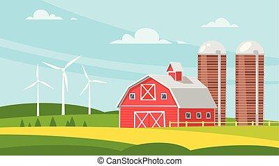 ферма, здание, сельский, -, сарай