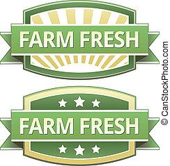 ферма, свежий, питание, метка