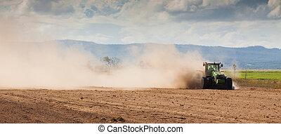ферма, трактор, сухой, земельные участки, plowing