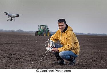 фермер, выше, сельхозугодий, трутень, navigating