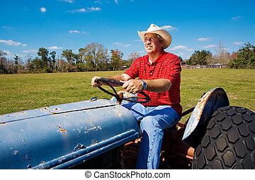 фермер, поле, mows