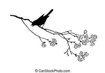 филиал, дерево, птица, вектор, силуэт