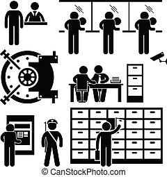 финансы, работник, банка, бизнес, сотрудники