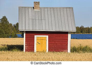 финский, деревянный, countryside., традиционный, ферма, красный