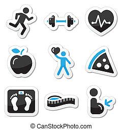 фитнес, задавать, здоровье, icons