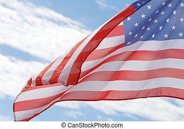 флаг, облачный, небо, против, американская