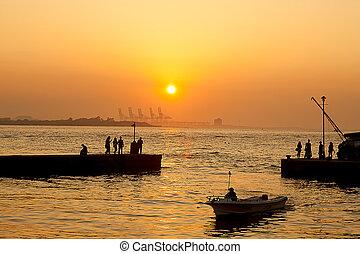 фокусное расстояние, тайвань, danshui, закат солнца