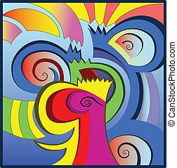 форма, буквенный, задний план, абстрактные, красочный