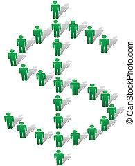 форма, люди, деньги, символ, доллар, знак, зеленый, стоять