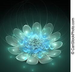 фрактальный, синий, яркий, фантастика, цветок, иллюстрация