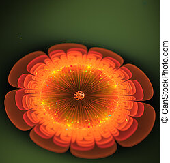 фрактальный, яркий, фантастика, цветок, оранжевый, иллюстрация