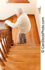 фронт, старшая, женщина, лестница