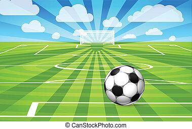 футбольный, мяч, поле, игра, трава, лежащий