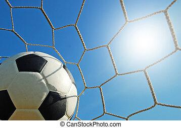 футбол, стадион, спорт, синий, небо, трава, футбольный, зеленый, поле