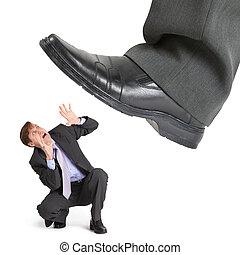 фут, большой, предприниматель, маленький, crushes, кризис