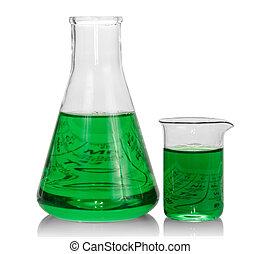 химическая, flasks, зеленый, жидкость