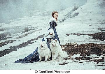ходить, женщина, зима, собака