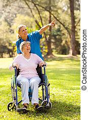 ходить, отключен, пациент, принятие, пожилой, медсестра